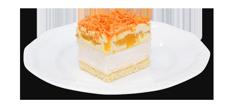 kawałek ciasta beza z brzoskwiniami na talerzyku
