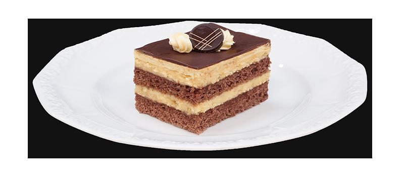 Kawałek ciasta z chałwą na talerzyku