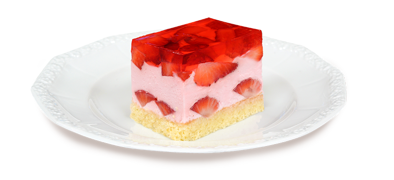 Kawałek truskawkowego ciasta na talerzyku