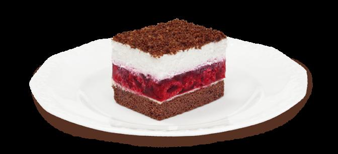 Kawałek ciasta z malinami na talerzyku