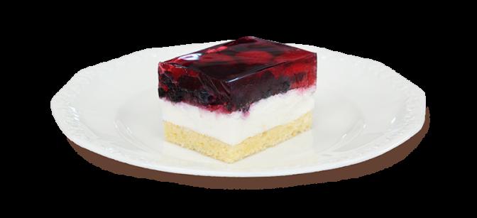 Kawałek ciasta z owocami leśnymi na talerzyku