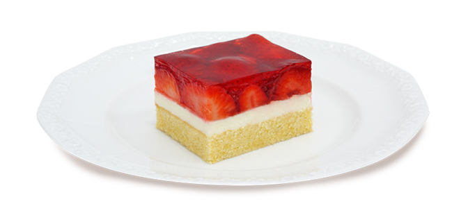 Kawałek ciasta z truskawkami zatopionymi w galaretce na talerzyku