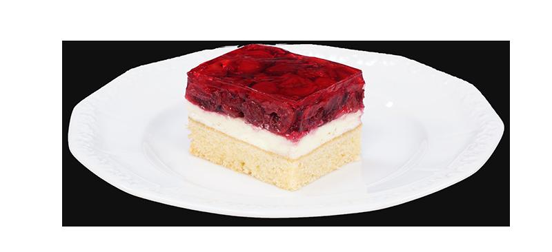 kawałek ciasta z wiśniami na talerzyku