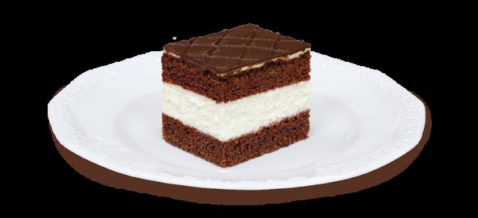 Kawałek ciasta W-Z na talerzyku