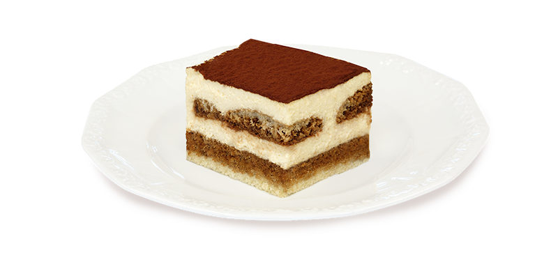 Kawałek ciasta tiramisu na talerzyku