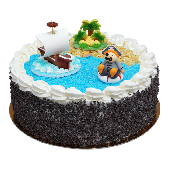 Tort z piratem i statkiem pirackim
