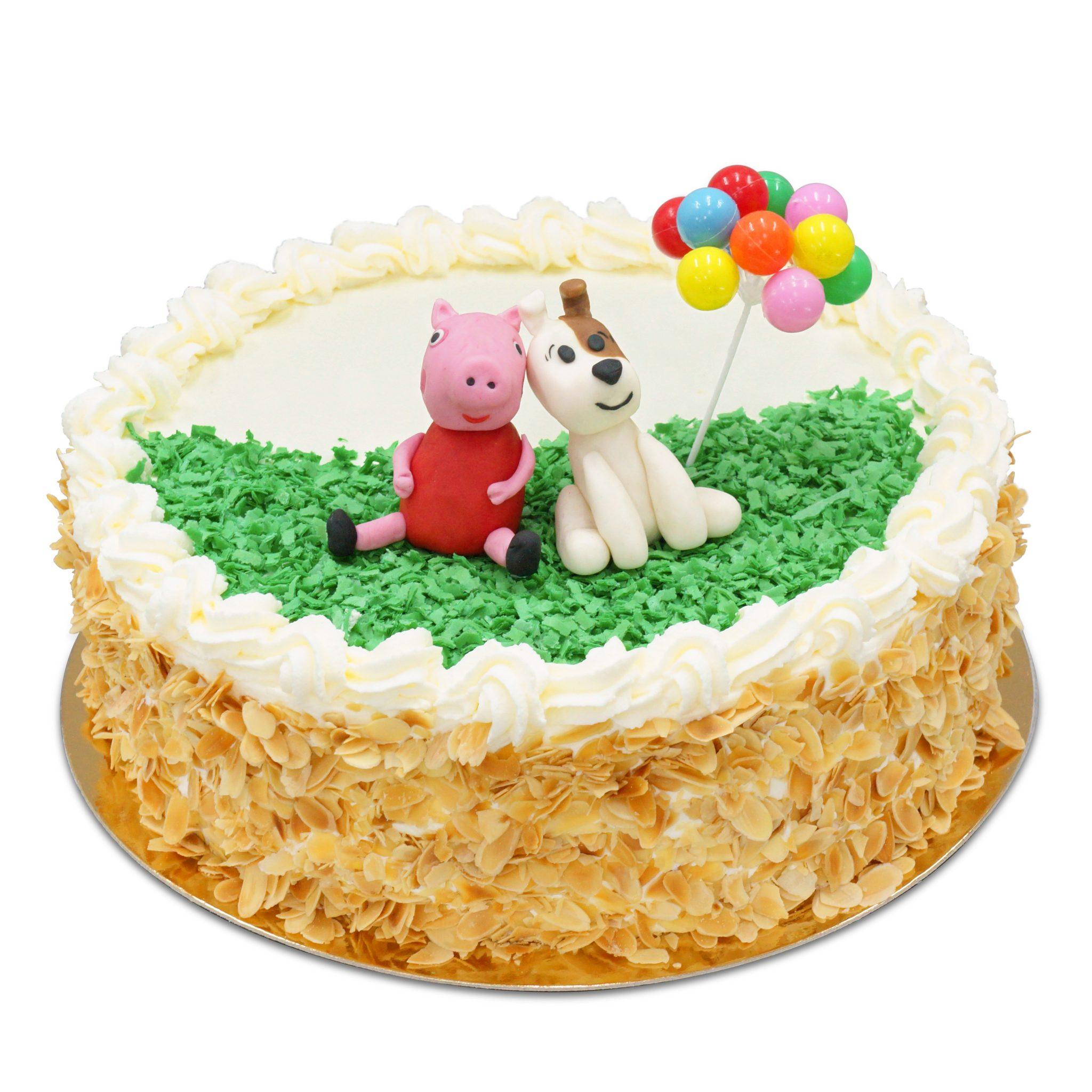 tort z figurką Reksia i Świnki Peppy