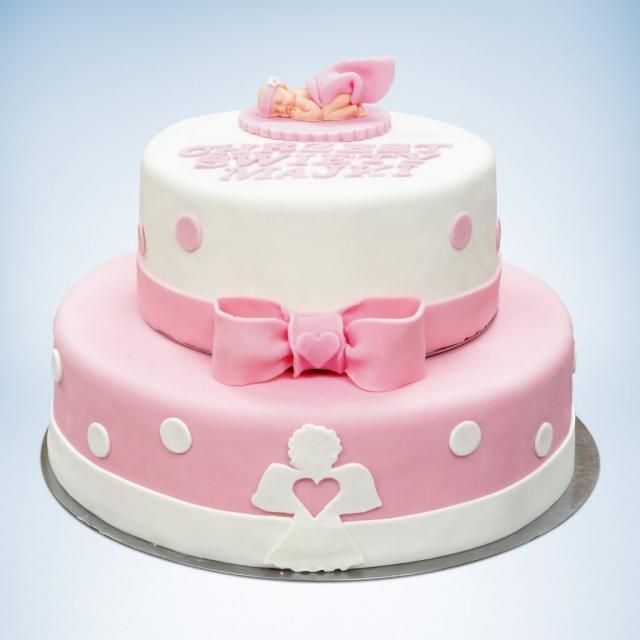 2 piętrowy tort na chrzest biało różowy