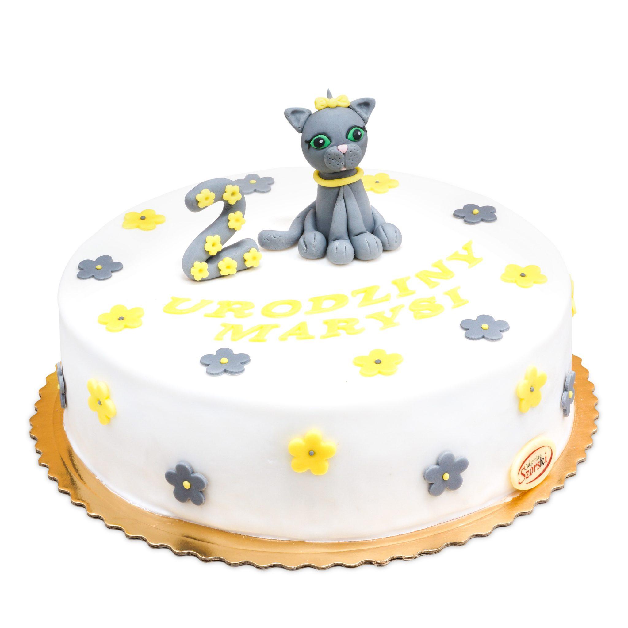tort z figurką kotka
