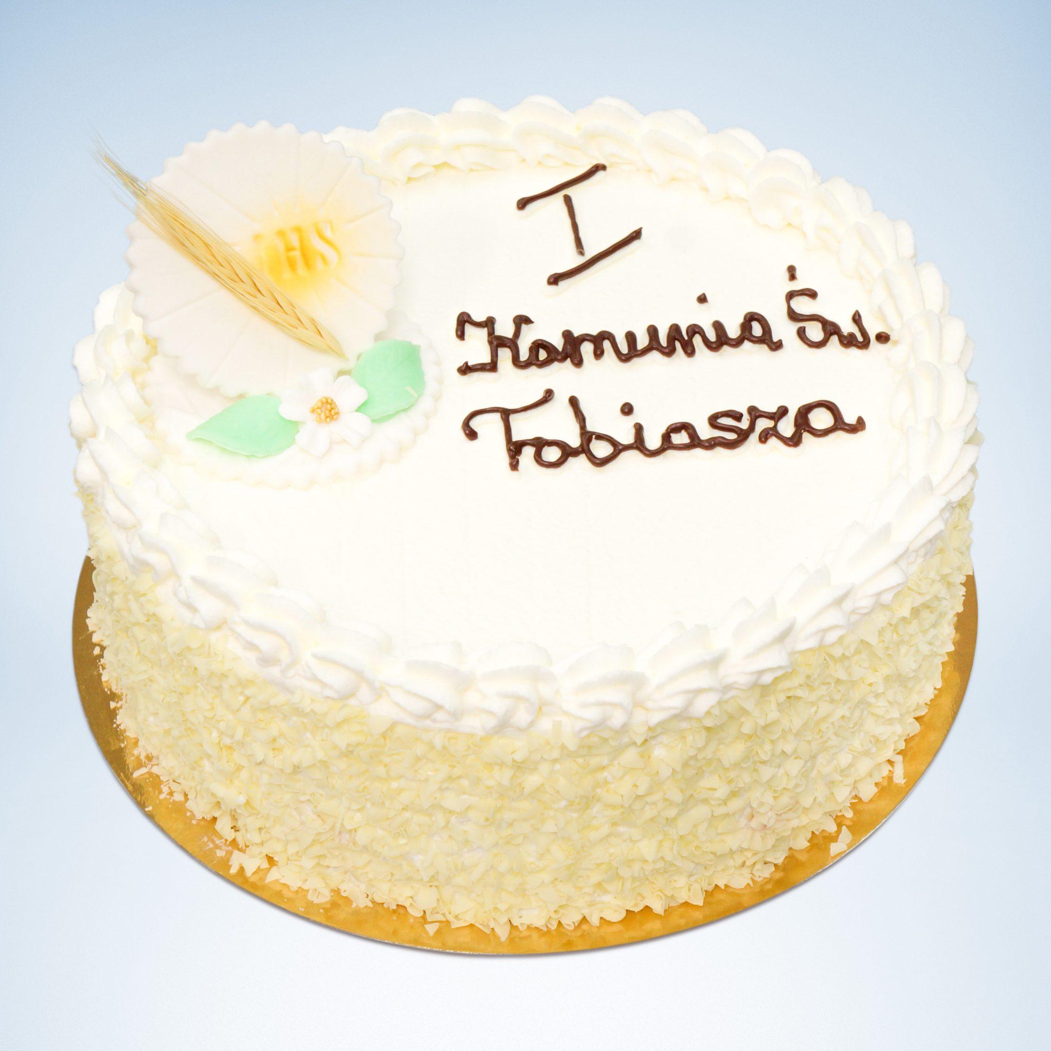 okrągły tort na komunie