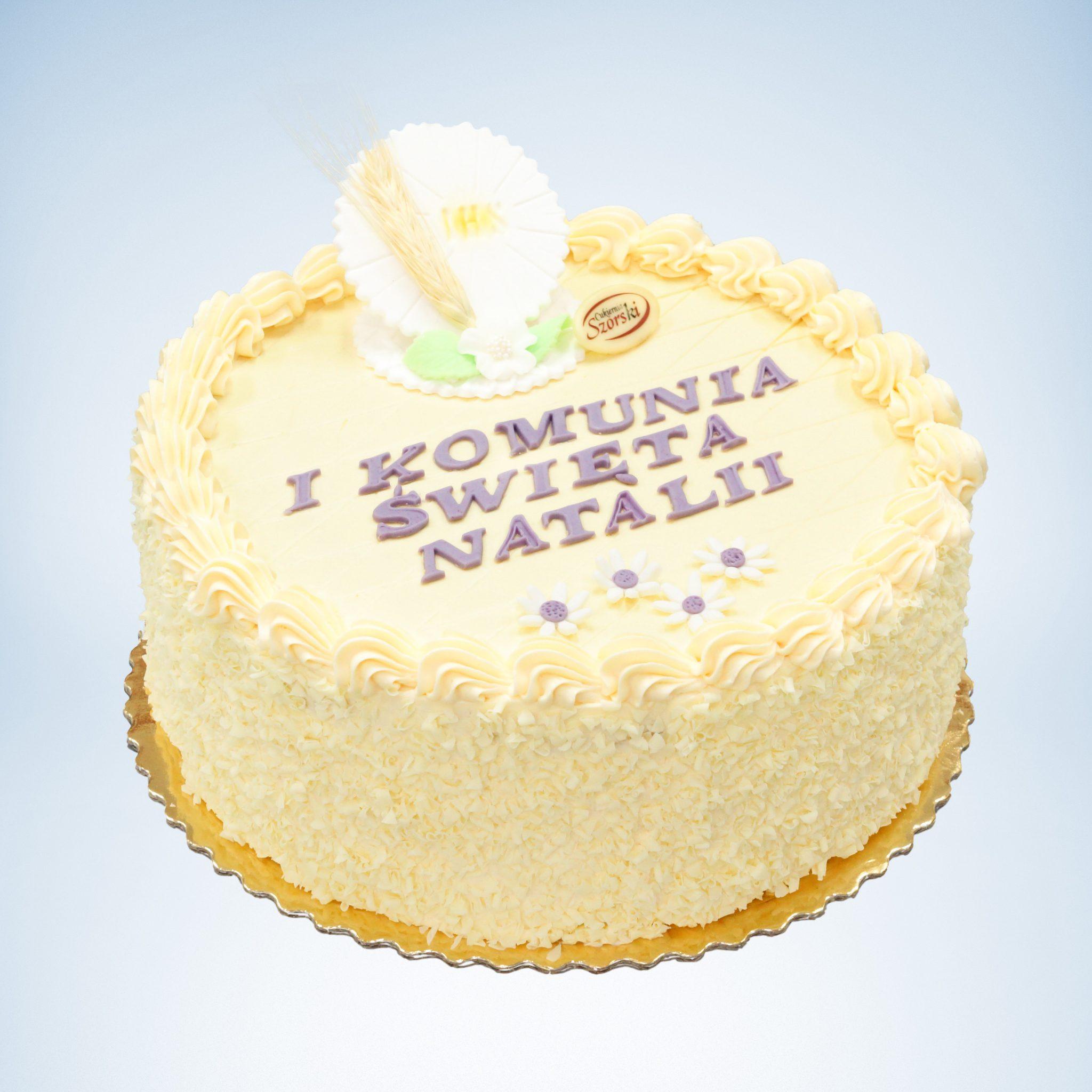 tort na komunie okrągły