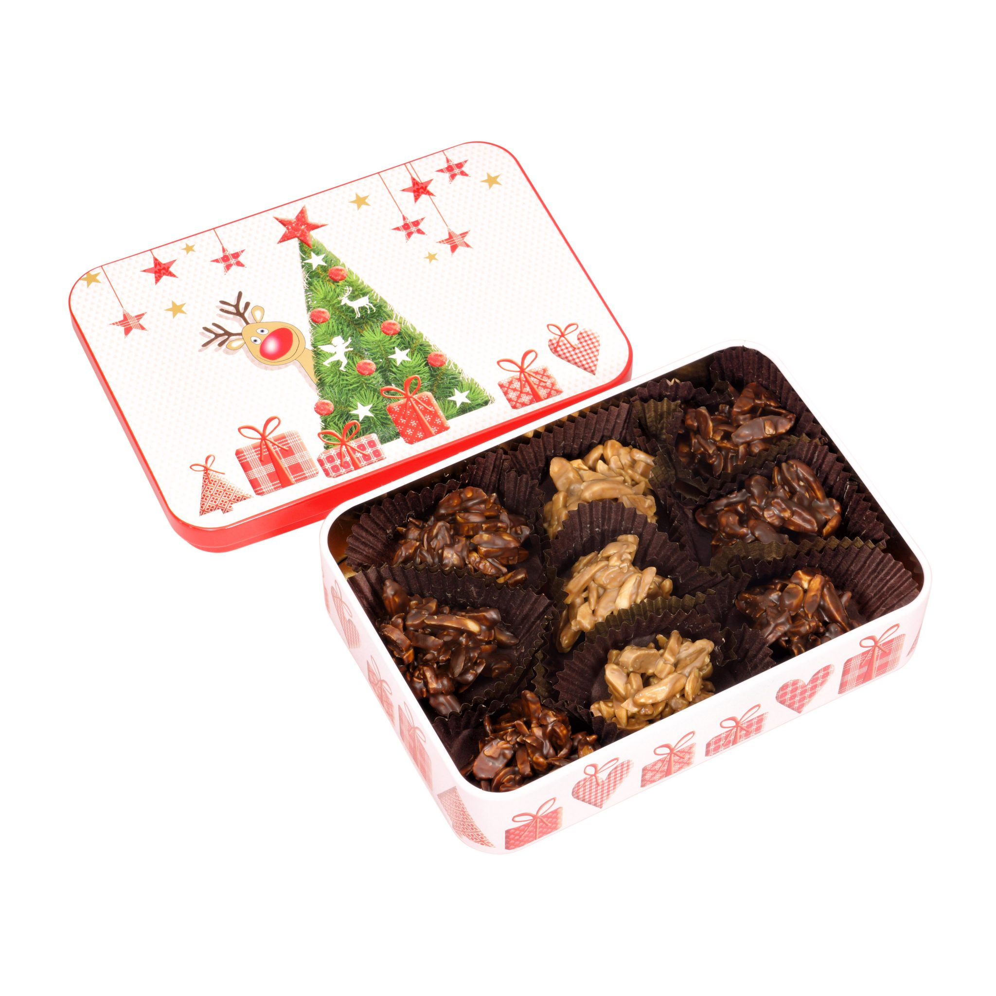 puszka z czekoladkami prezent świąteczny