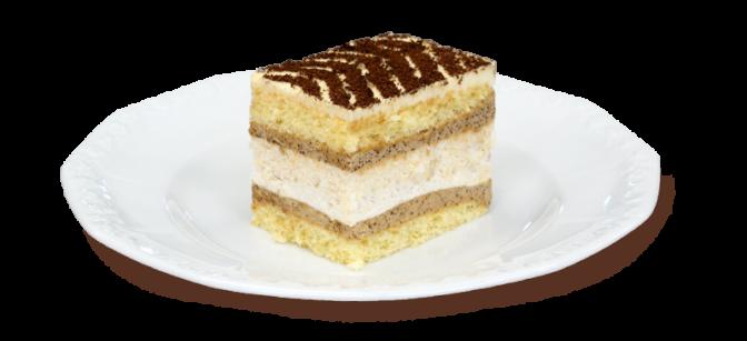 Kawałek ciasta beza z kawą na talerzyku