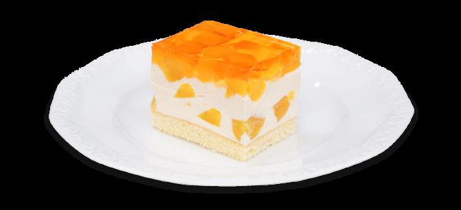 Kawałek ciasta z brzoskwiniami na talerzyku
