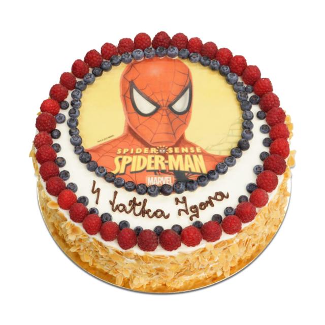 tort z obrazkiem spider-mana