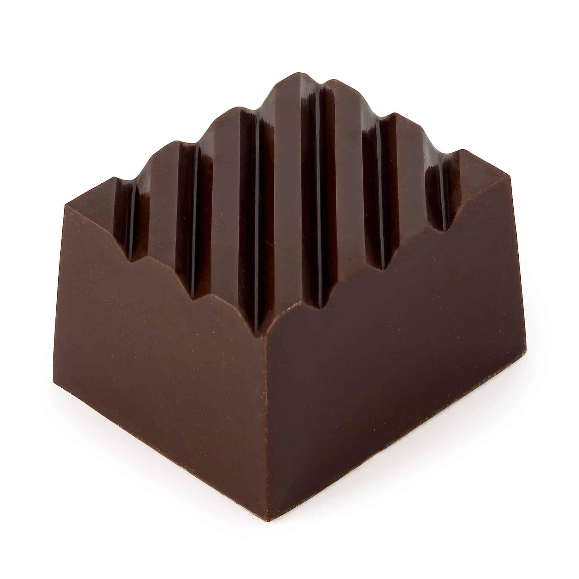 pralina z czekolady deserowej z nadzieniem waniliowym.