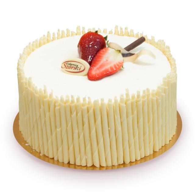 tort z rurkami z białej czekolady z truskawkami i bitą śmietaną ostrów wielkopolski