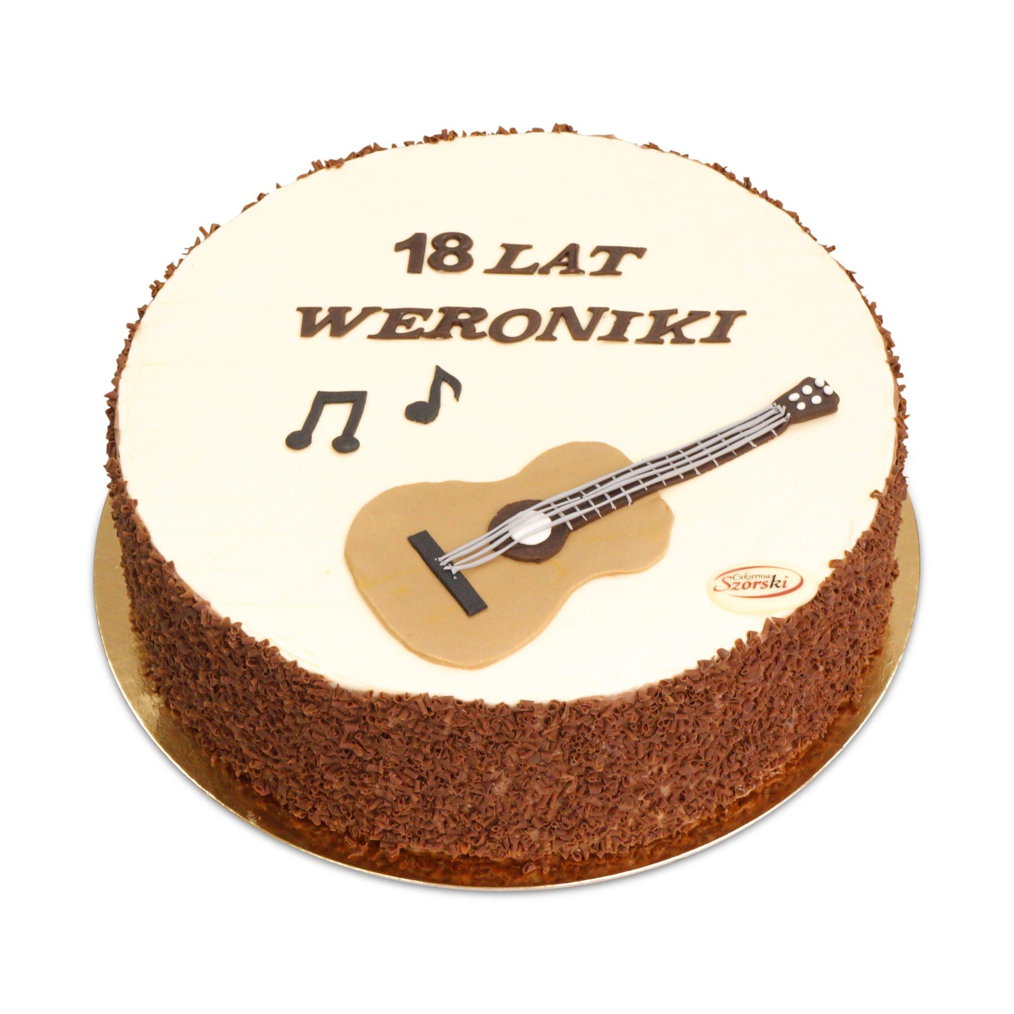artystyczny tort na 18-stkę z gitarą z masy cukrowej ostrów wlkp
