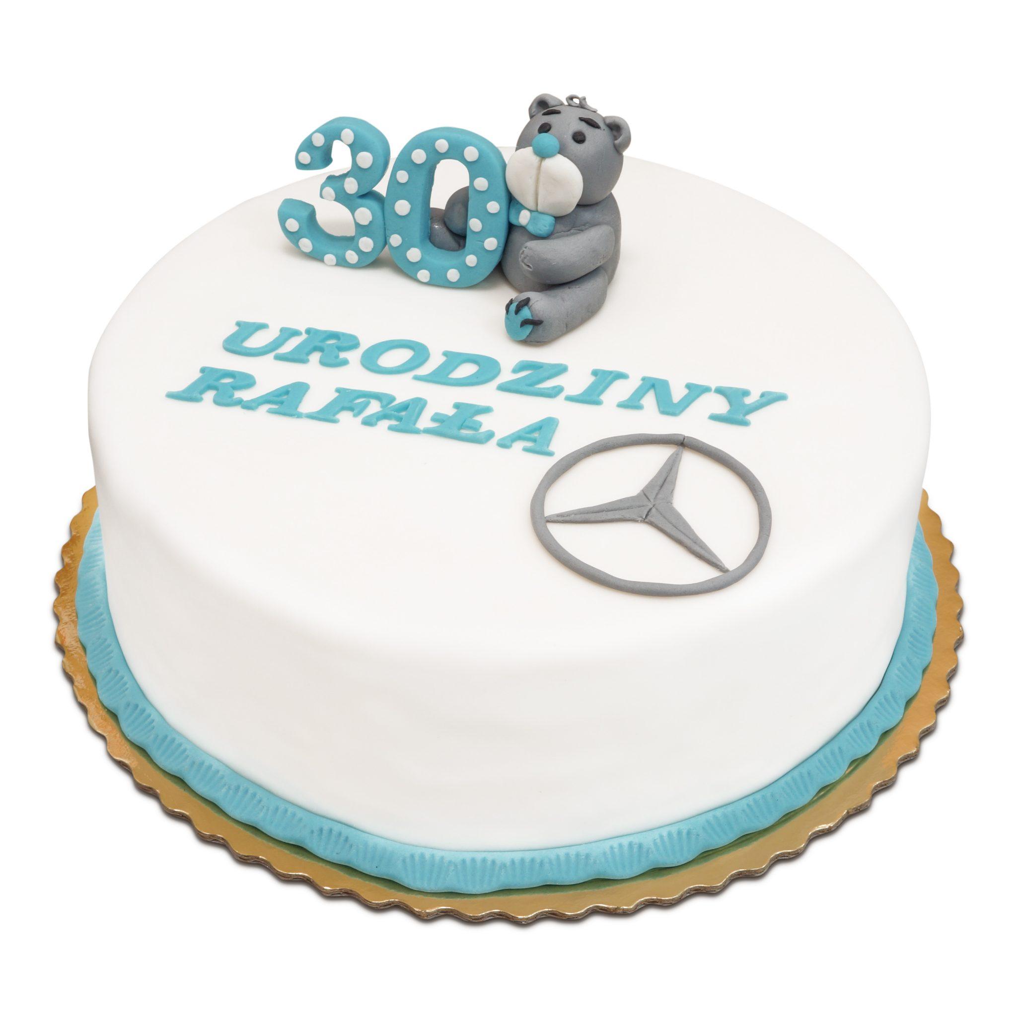 Tort z masy cukrowej na 30-ste urodziny z misiem ostrów wielkopolski