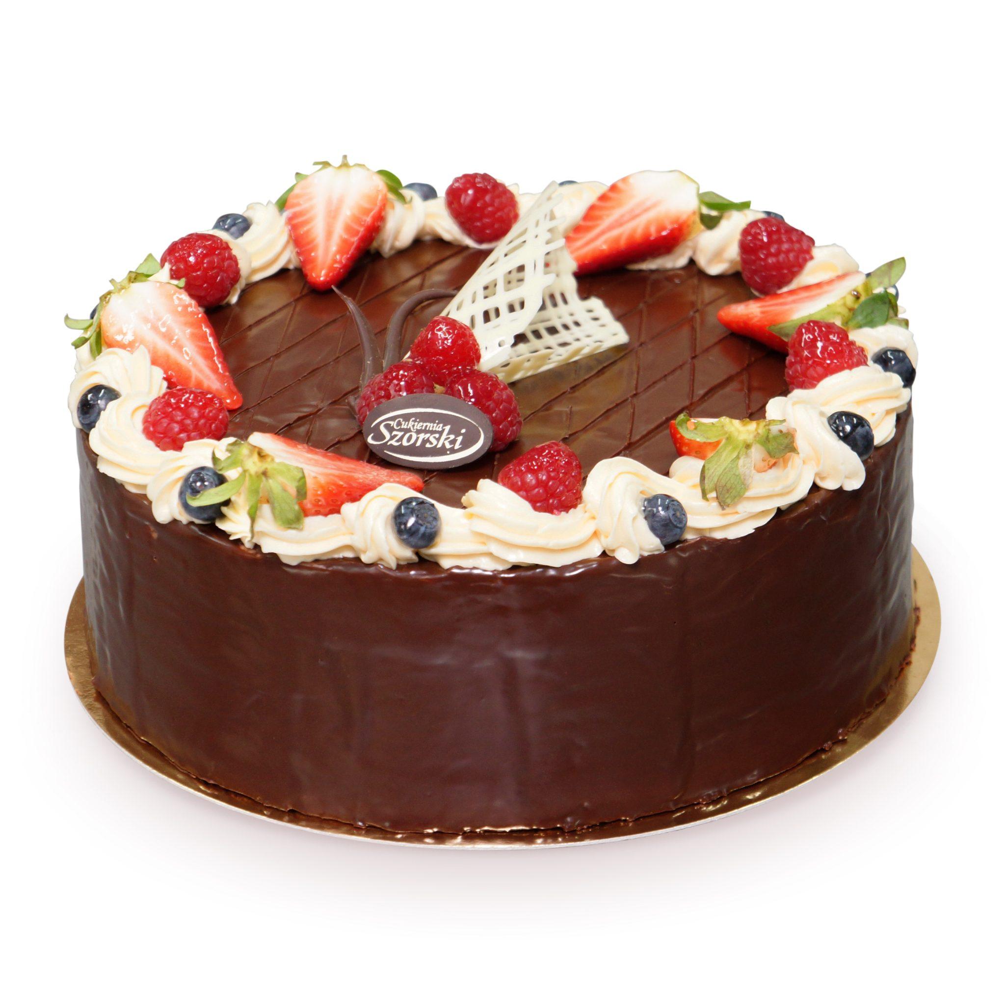 Tort czekoladowy z owocami ostrów wielkopolski