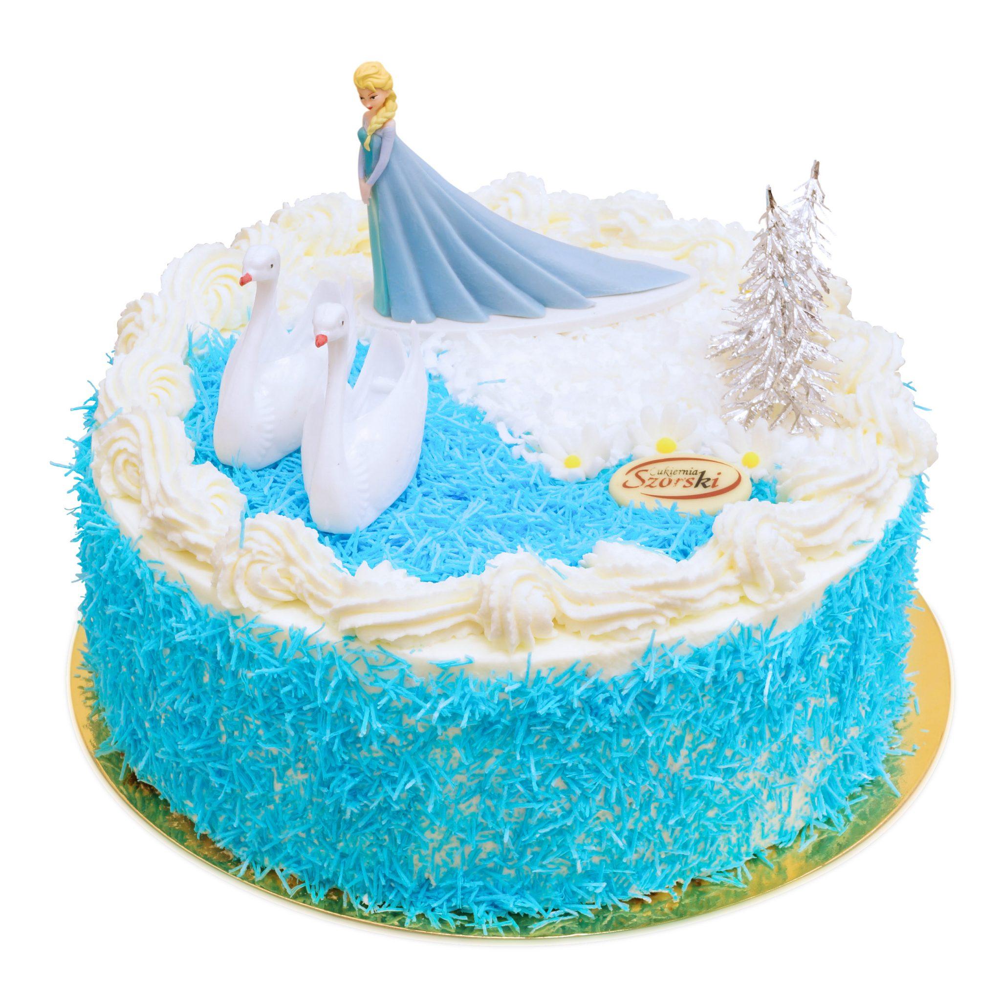 Tort z figurką Elsy z Krainy Lodu i łabędziami