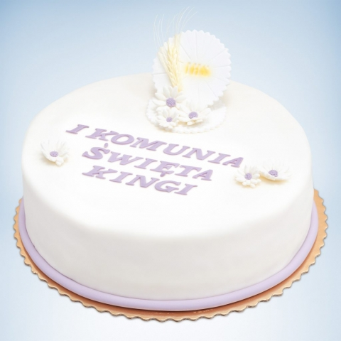 okrągły tort na komunię