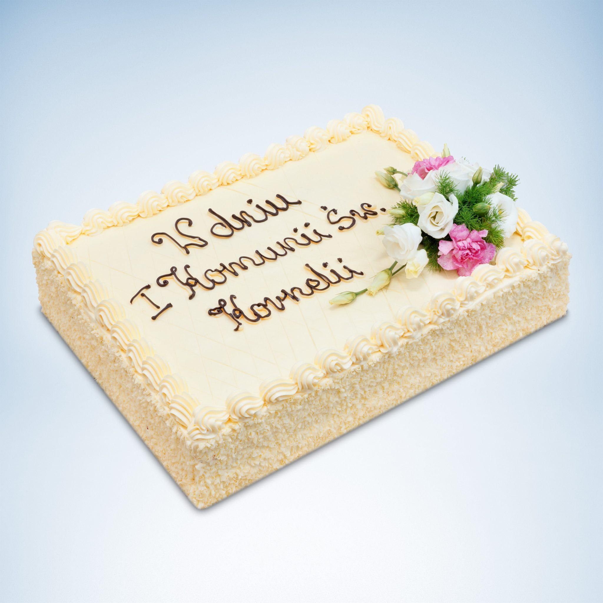 prostokątny tort na komunię