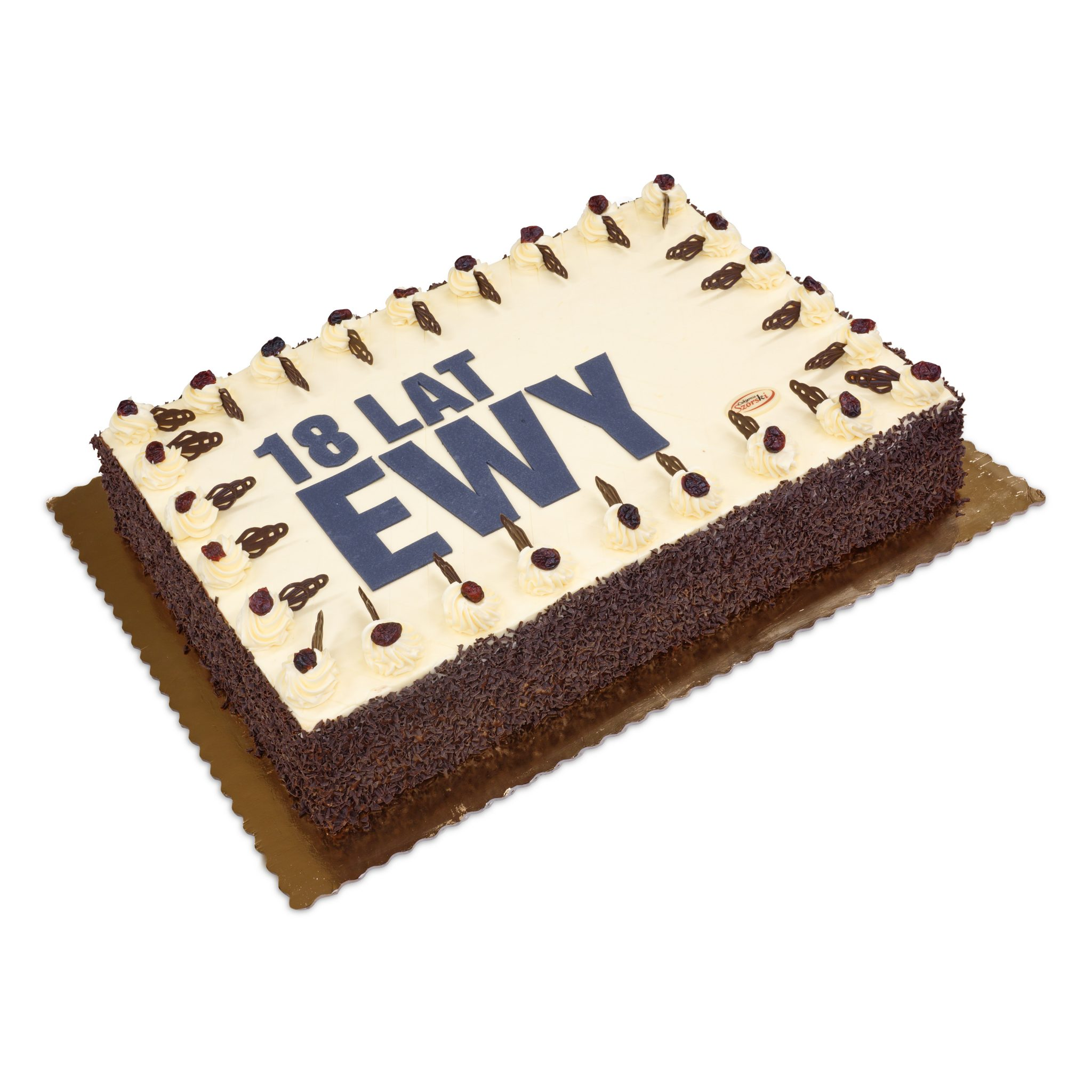 prostokątny tort na osiemnsatkę