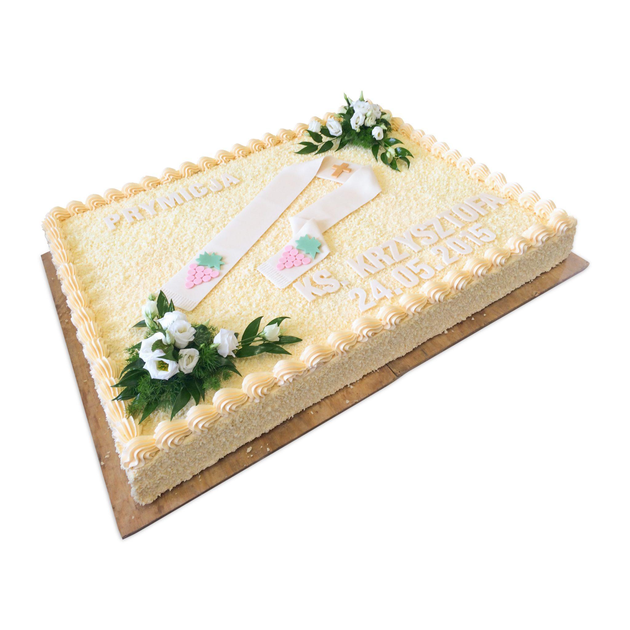 prostokątny tort na prymicję ksiedza