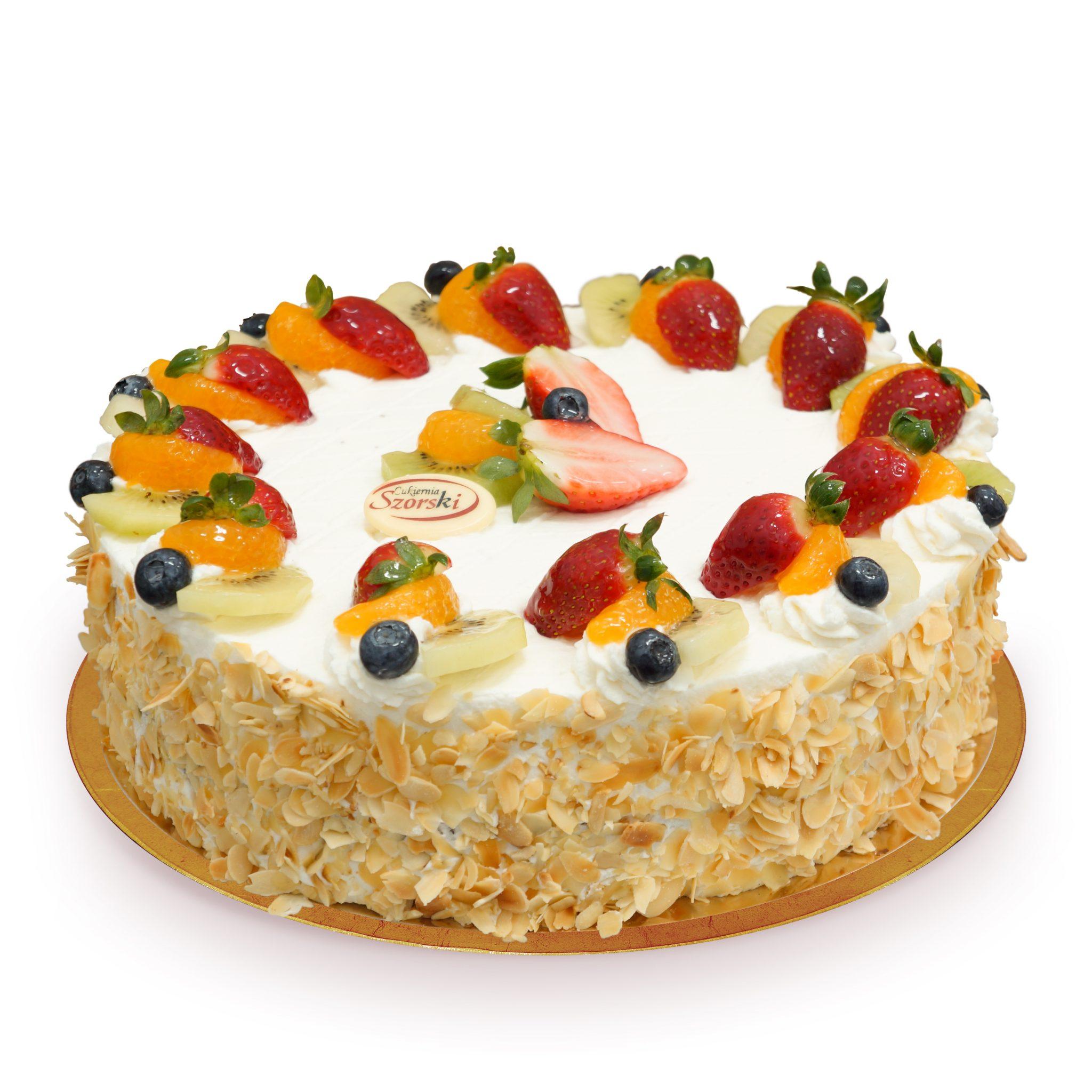 Tort z bitą śmietaną i owocami ostrów wielkopolski