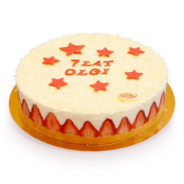 Tort z serkiem i truskawkami na urodziny ostrów wielkopolski