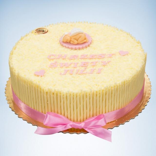 jasny tort na chrzest