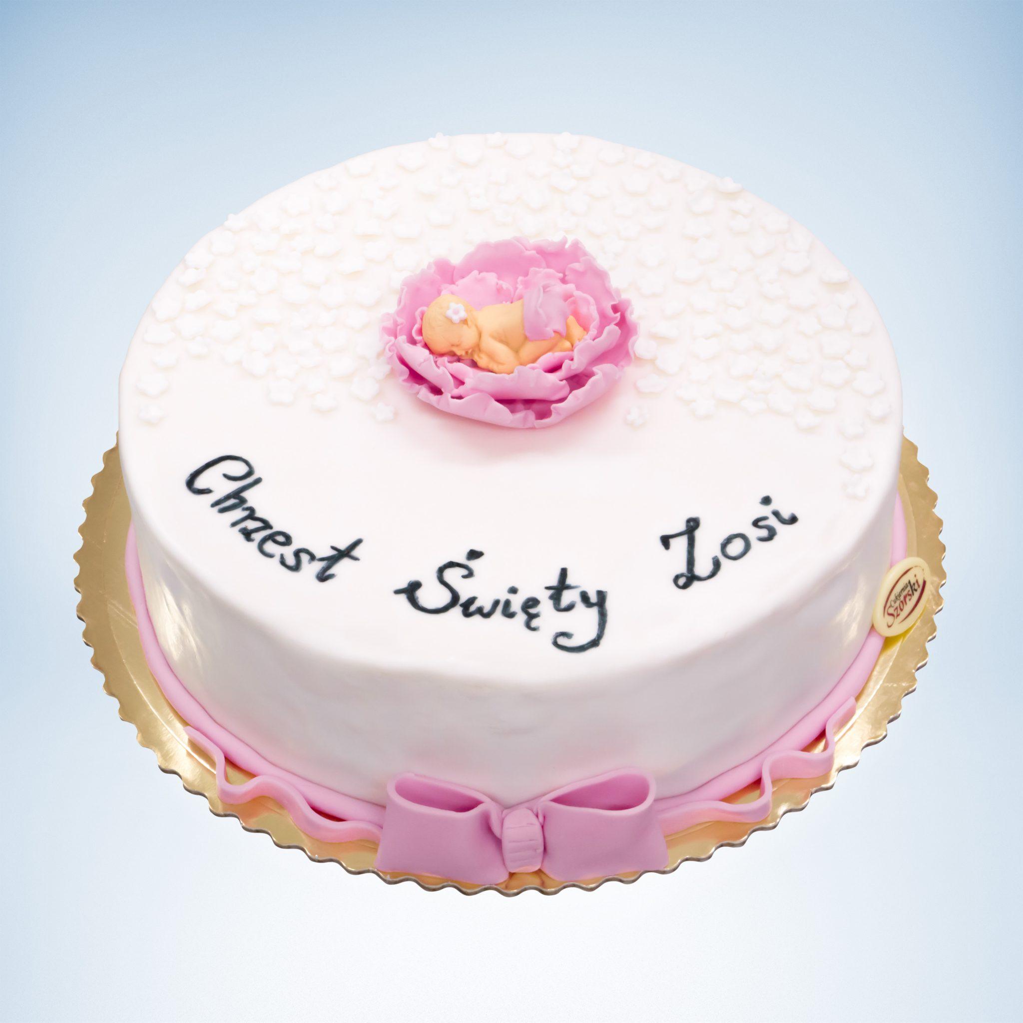 tort na chrzest święty biało różowy