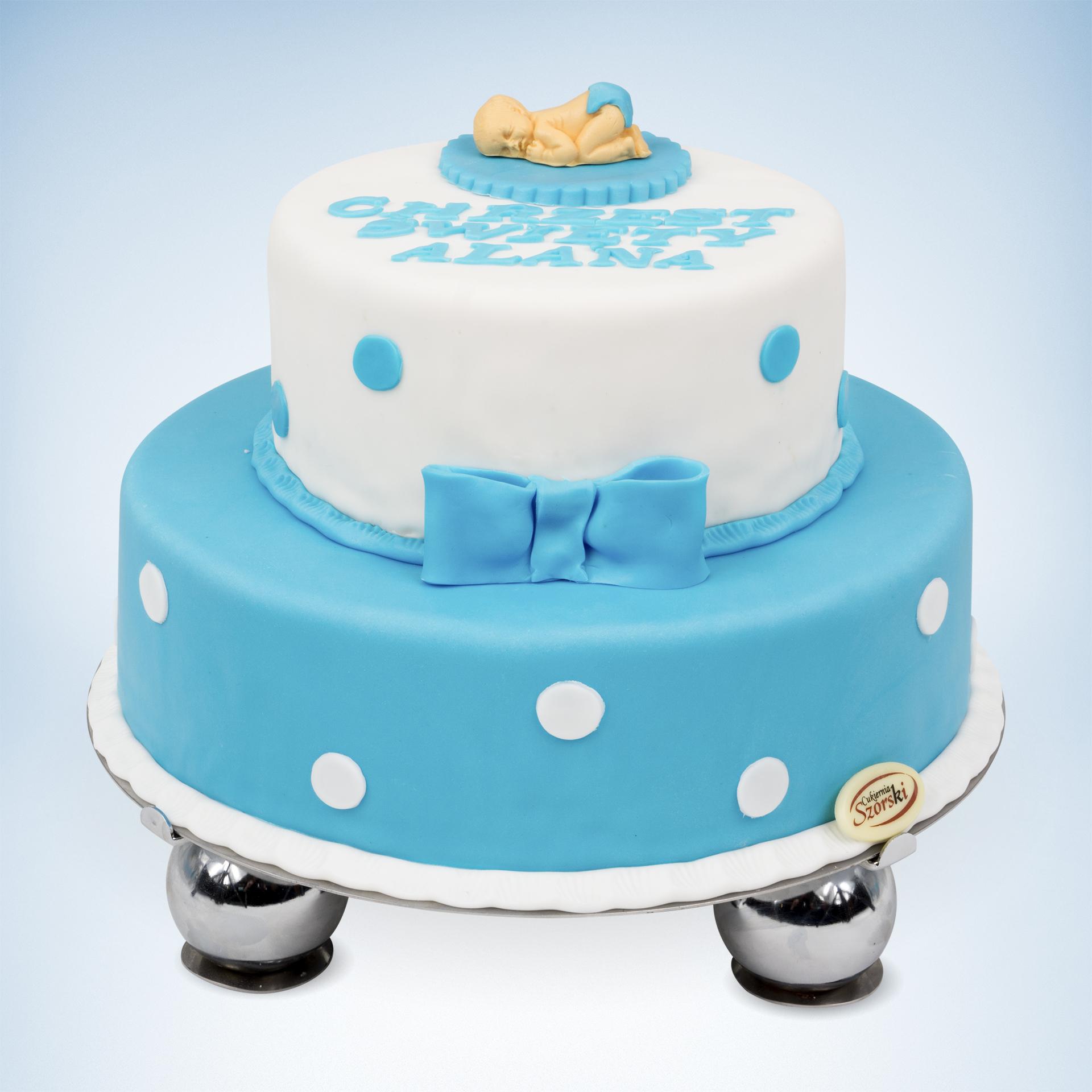 2 piętrowy tort na chrzest biało niebieski