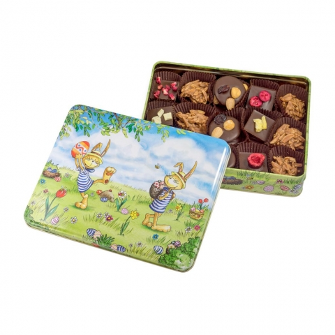 Puszka z czekoladkami z wielkanocnym motywem