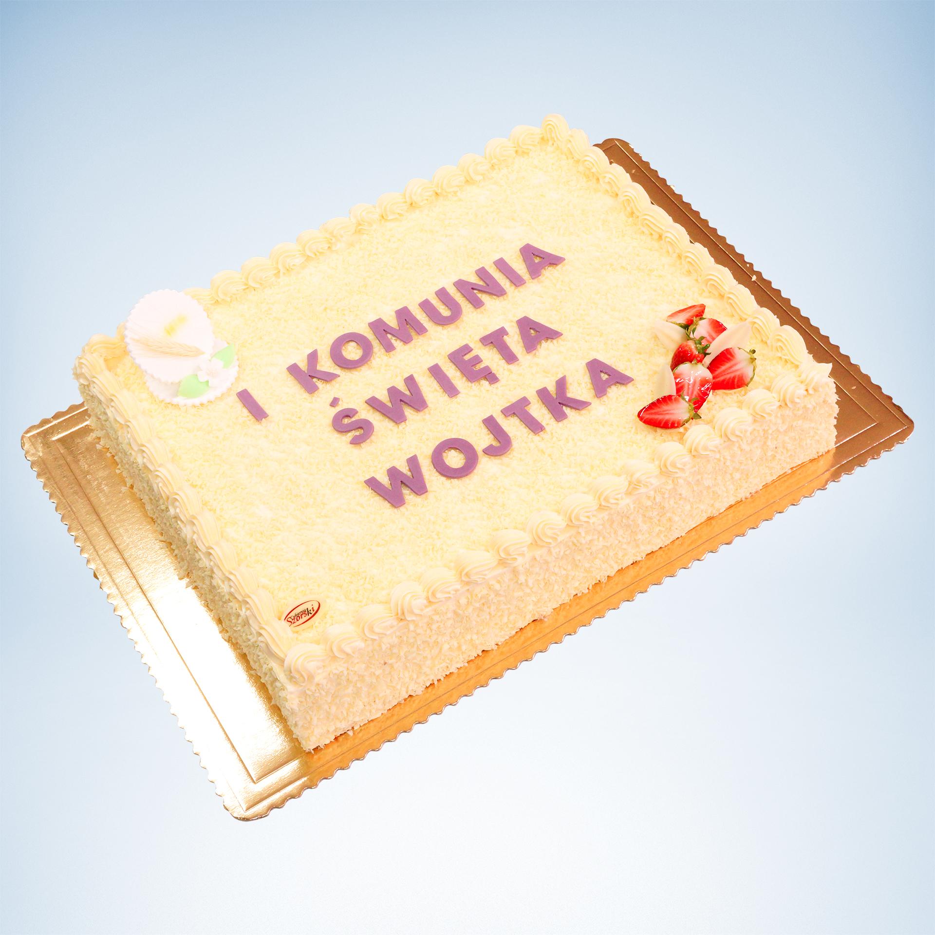 tort na komunie z owocami