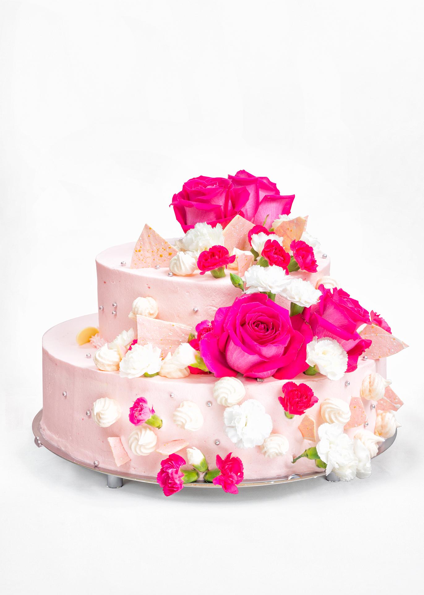 Tort weselny różowy