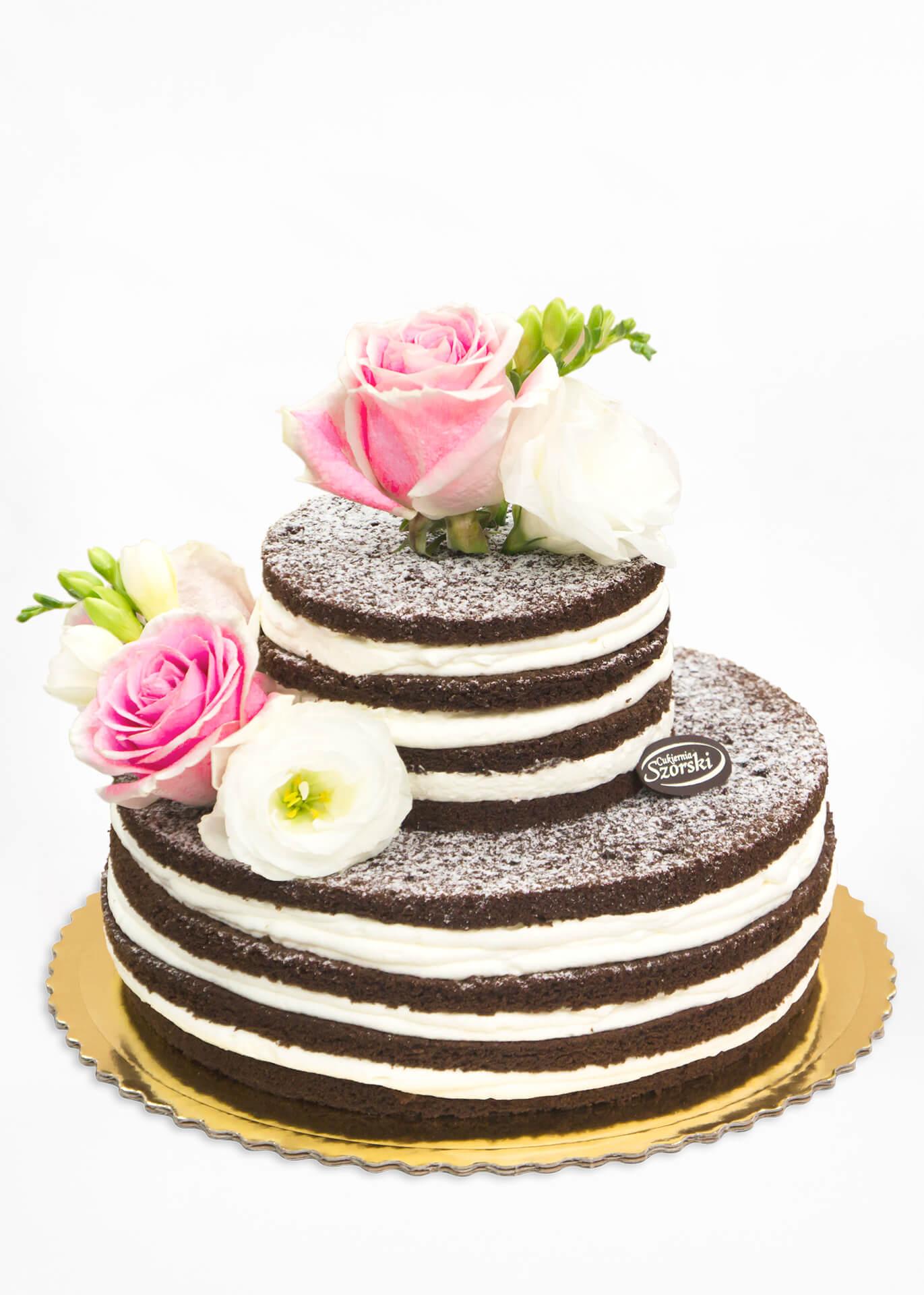 tort weselny naked czekoladowy