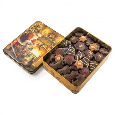 """Puszka """"Mikołaj"""" Puszka z dekorowanymi piernikami w czekoladzie deserowej z malinami, migdałami i białą czekoladą."""