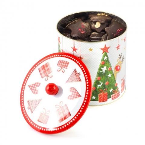 """Puszka """"Rudolf"""" Puszka z dekorowanymi piernikami w czekoladzie deserowej z malinami, migdałami i białą czekoladą."""