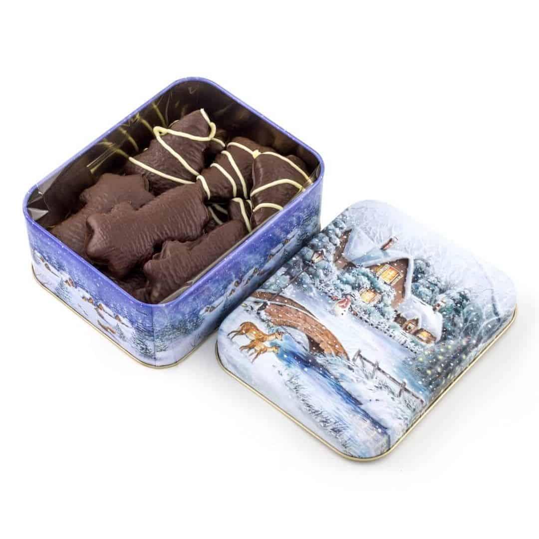 """Puszka """"Zima"""" Puszka z dekorowanymi piernikami w czekoladzie deserowej z białą czekoladą,"""