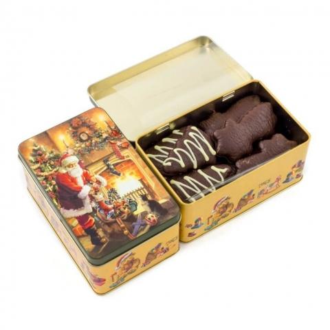 """Puszka """"Mikołaj"""" Puszka z dekorowanymi piernikami w czekoladzie deserowej z białą czekoladą,"""