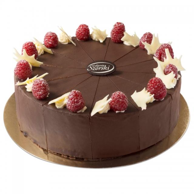 Torcik czekoladowy z malinami